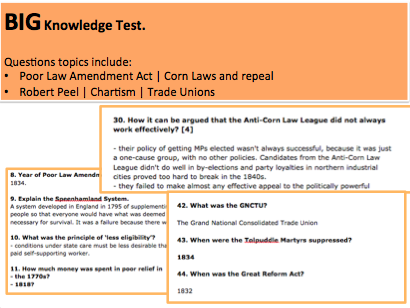 46 Question Test with Answers A-Level History: Robert Peel, Poor Laws, Corn Laws