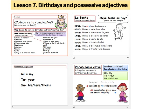 Lesson 7 Spanish Birthdays and possessive adjectives