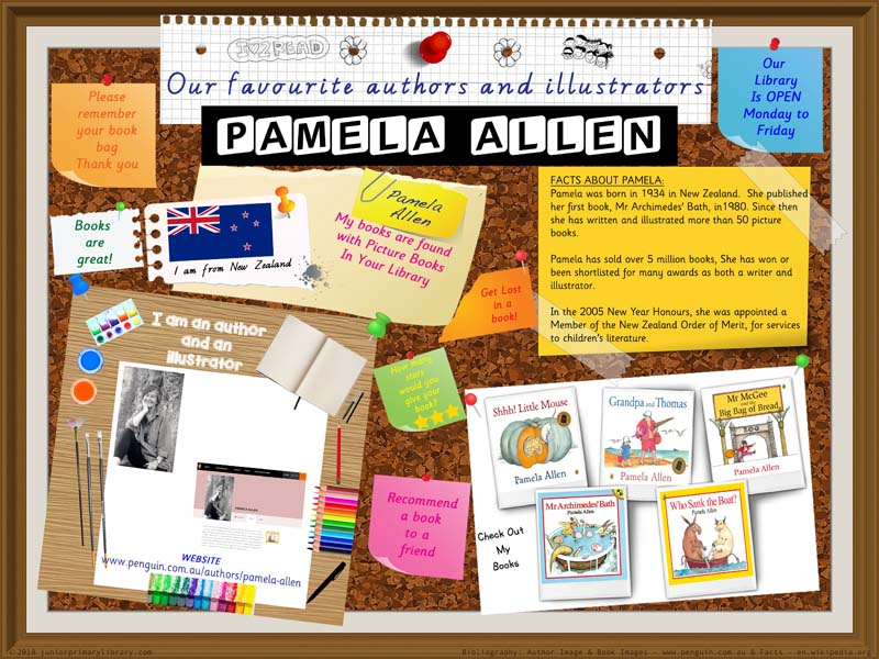 Library Poster - Pamela Allen New Zealand Children's Author Illustrator