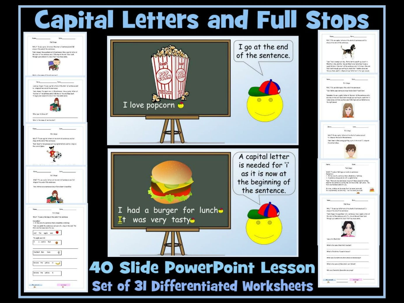 Using Full Stops and Capital Letters - 40 Slide PowerPoint Lesson and Two Sets of Worksheets