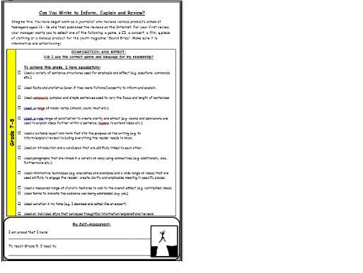 Writing to Inform task with new AQA Grade 8-3 criteria sheets for marking and feedback