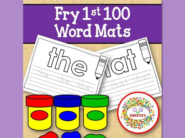 Sight Word Mats:  Fry 1st 100 Word Mats – Black and White