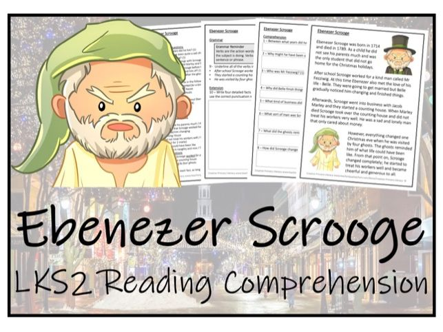 LKS2 Literacy - Ebenezer Scrooge Reading Comprehension Activity