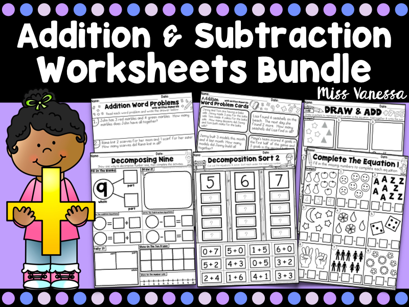 Addition and Subtraction Worksheets And Activities for Numbers 0-10