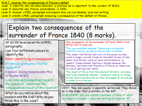 KS3 defeat of France (WW2)