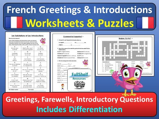french greetings introductions worksheets puzzles by. Black Bedroom Furniture Sets. Home Design Ideas