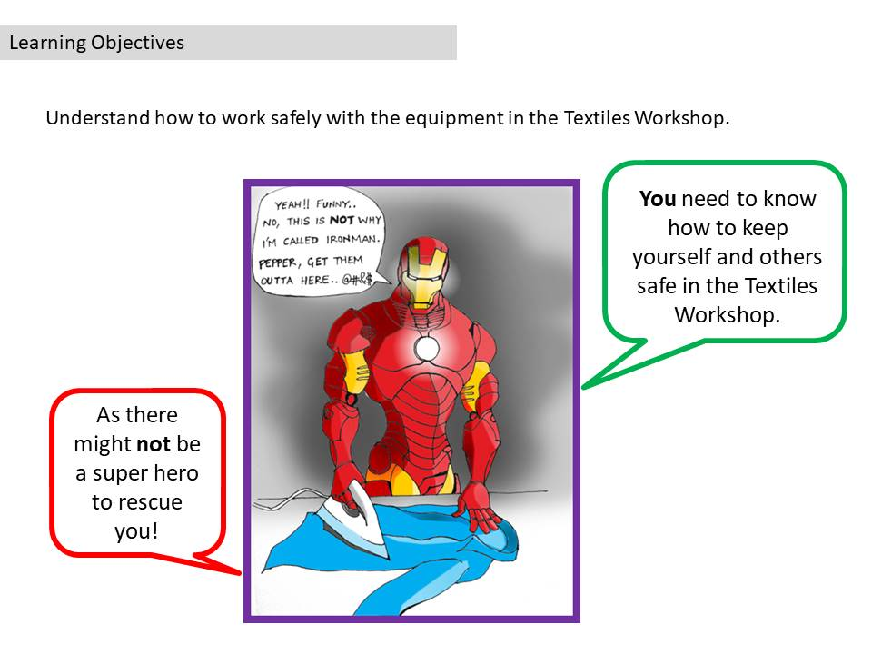 Comic Strip for dangers in the Textiles Workshop - stand alone lesson / cover lesson