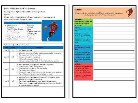 BTEC Sport (Level 2)- Unit 1 – Training Methods 2 Structure Strip (Long Answer Question)