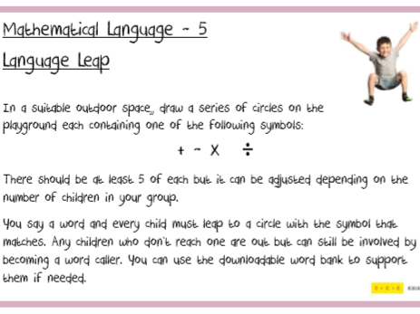 Mathematical Language Challenges F2 to Y6