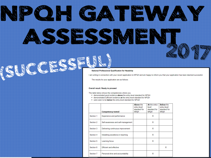 NPQH completed application form - SUCCESSFUL