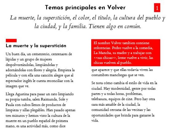 Volver: Themes, director techniques and essay writing practice