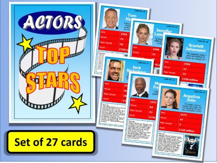 Famous ACTORS Top Stars Card Game set of 27 Drama End of Term Activity Actresses