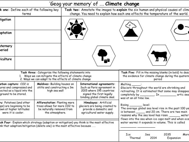 AQA GCSE Geography 'Geog your memory sheet': Climate change