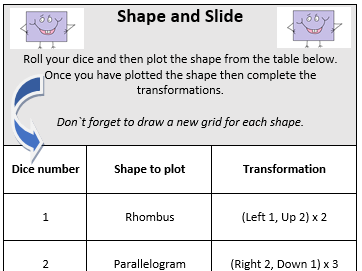 Year 4 - Shape and Slide -  Plot Quadrilaterals and Transformations Game