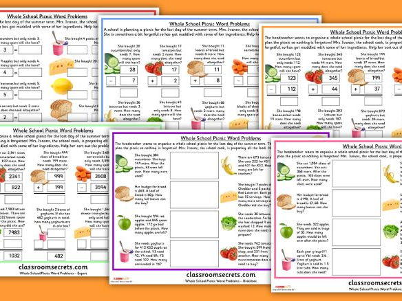 Differentiated Summer Word Problems for KS1 and KS2 Whole School Picnic