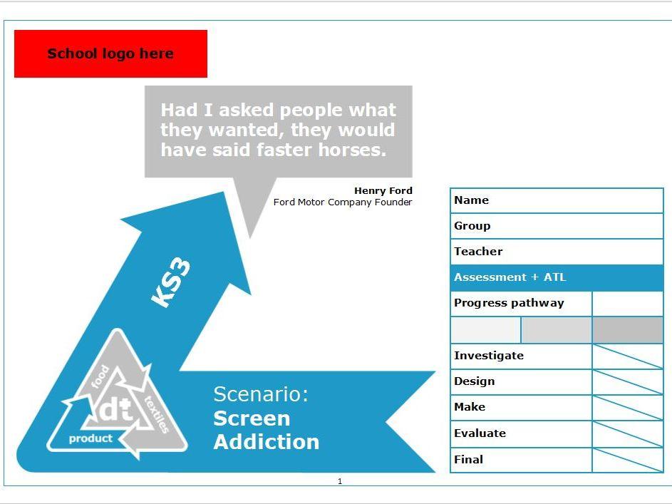 KS3 D+T project - Scenario: Screen addiction