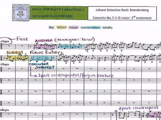 GCSE 9-1 Music Edexcel Bach Brandenberg FULL SCORE ANALYSIS