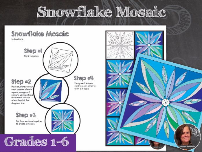 Snowflake Winter Mosaic - Collaborative Classroom Art Activity - Winter Art Activity