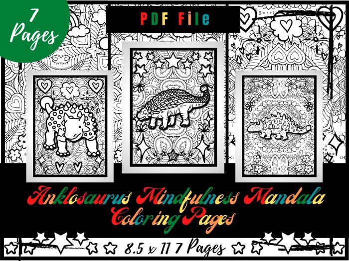Ankylosaurus Mindfulness Mandala Colouring Pages, Dinosaurs Colouring Printable
