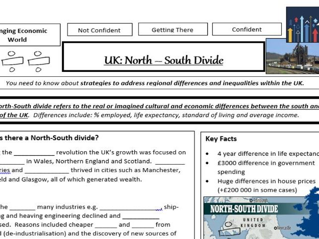 AQA GCSE Geography - North South Divide in the UK - Summary Worksheet