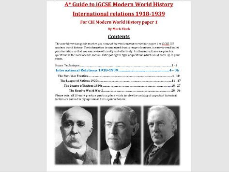 International Relations 1918-1939 GCSE CIE revision guide