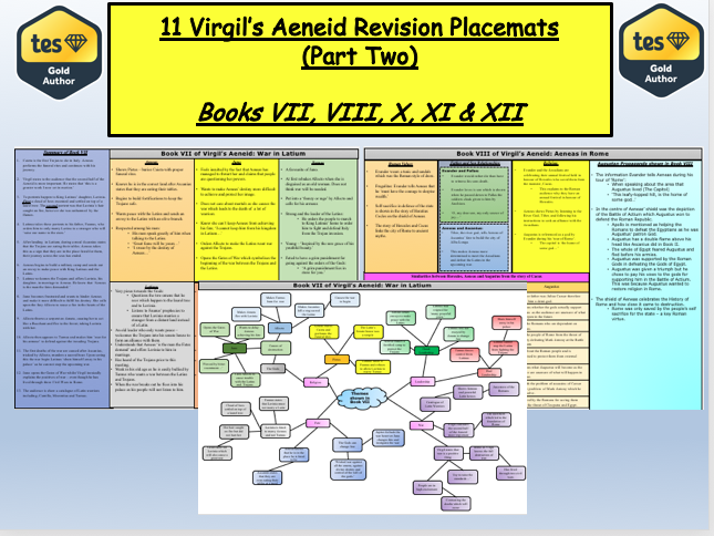 11 Virgil's Aeneid Revision Placemats  (Part Two)  Books VII, VIII, X, XI & XII