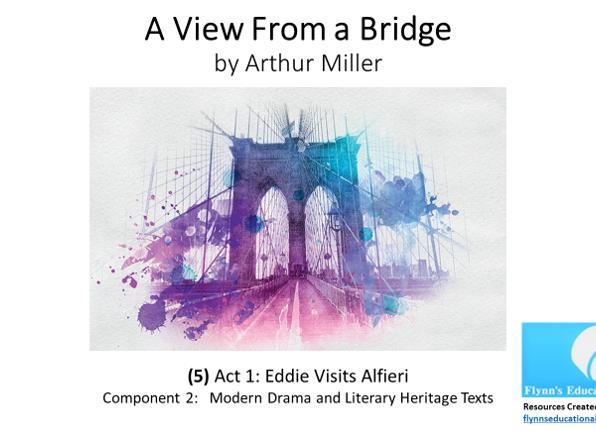 GCSE Literature: (5) 'A View from a Bridge' – Act 1 (5 of 7) 'Eddie Visits Alfieri'