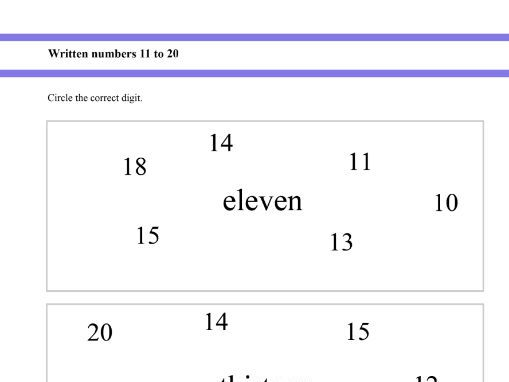 Written numbers from 11 to 20 for Year 1 and Year 2 students