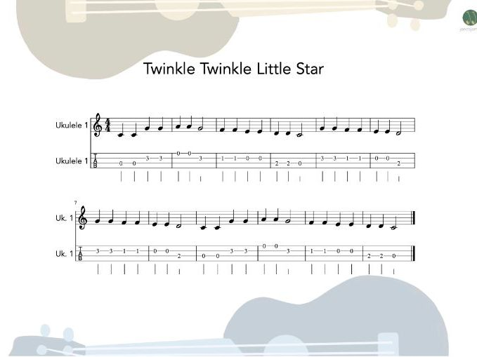 Ukulele Group - Twinkle Little Star sheet music and teaching resources