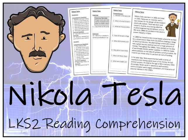 LKS2 Nikola Tesla Reading Comprehension Activity