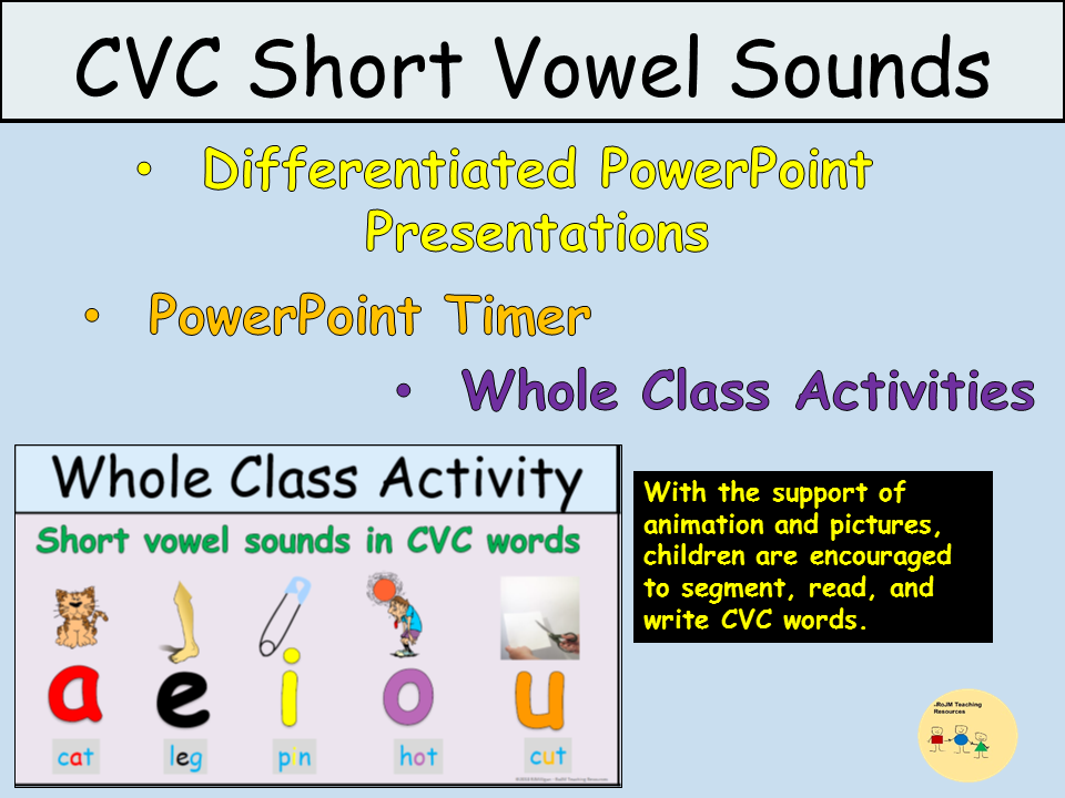 CVC Short Medial Vowels  PowerPoint Presentations, Activities, Teacher Notes - EYFS/KS1