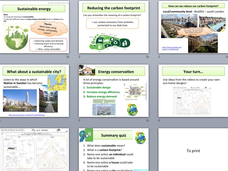 Sustainable, renewable energy and eco homes