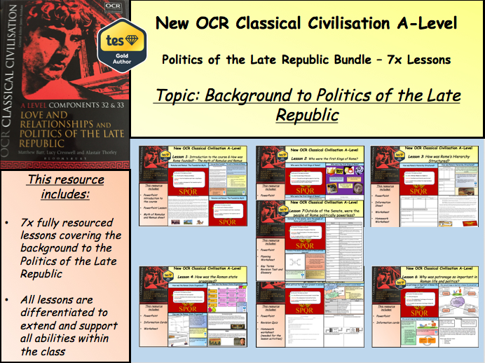 New Classical Civilisation A-Level - Politics of the Late Republic Bundle (Background to the Late Republic)