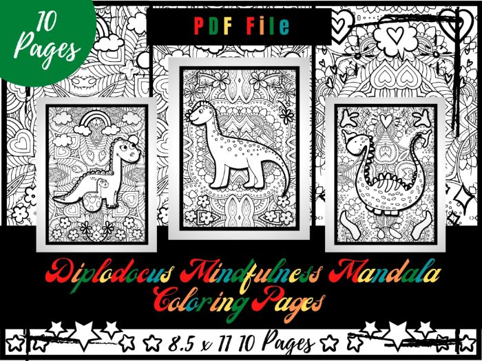 Diplodocus Mindfulness Mandala Colouring Pages, Dinosaurs Colouring Printable PDF