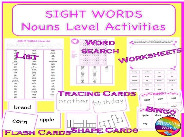 Popular Sight Words Multi-GradeList  NOUNS Activities, Flash Cards, Bingo, Word Games
