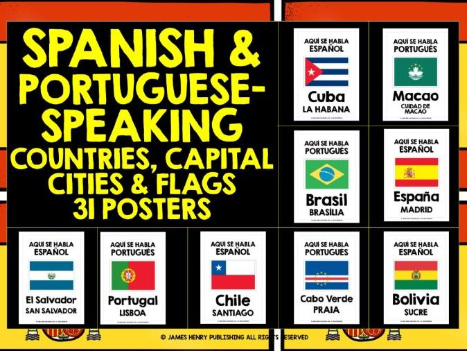 SPANISH-SPEAKING COUNTRIES POSTERS FLASHCARDS