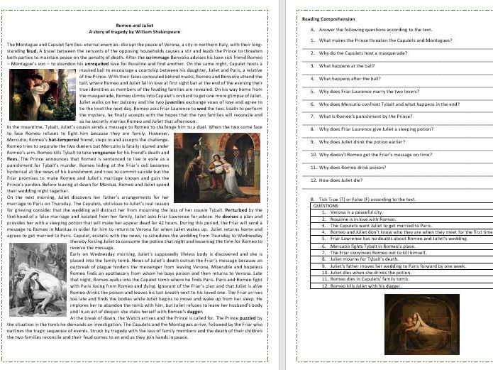 Romeo and Juliet by William Shakespeare -Plot Summary- Reading Comprehension / Vocabulary Worksheet