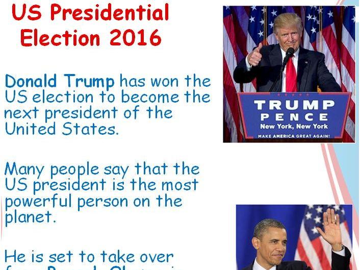 US Election Donald Trump becomes President Powerpoint KS1 KS2