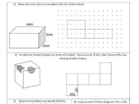 Nets - 3D shapes represented by 2D shapes - Geometry - ks2 year 5 & 6  - WORKSHEET ONLY