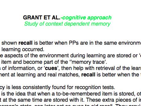 OCR Psychology Core Studies: Cognitive Psychology PDF