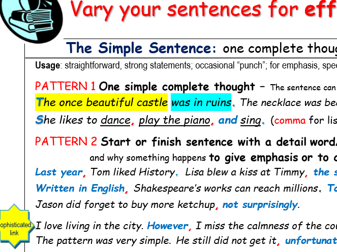 Vary your sentences for effect and clarity -- summary notes