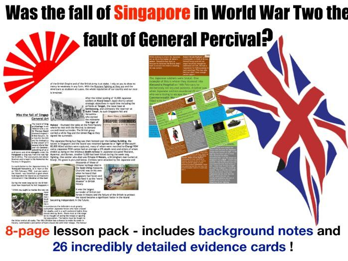 Fall of Singapore - 8 page lesson pack
