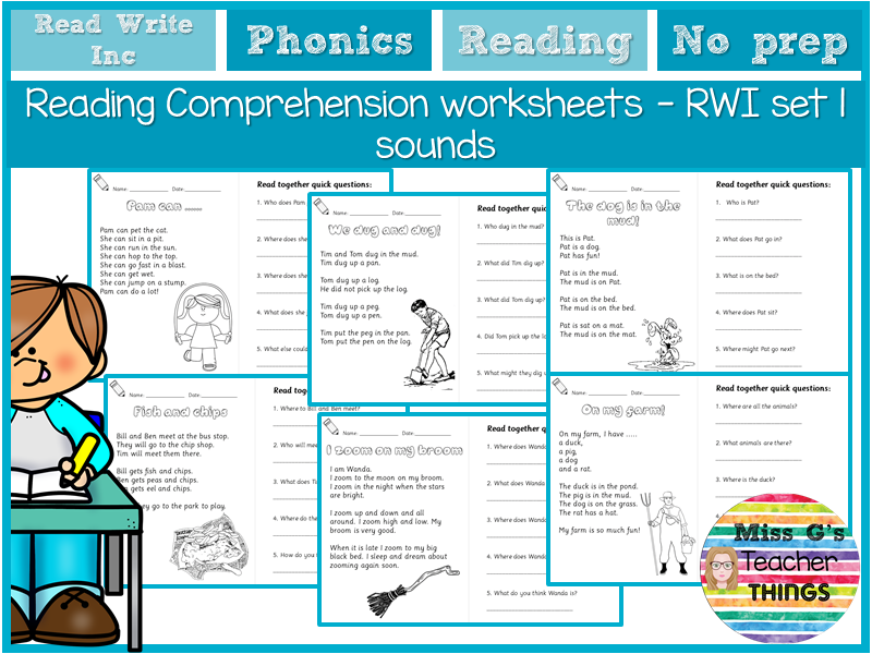 Reception/Year 1 differentiated Reading Comprehension worksheets - RWI set 1 and set 2 sounds