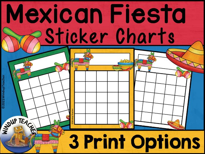 Mexican Fiesta Sticker Charts