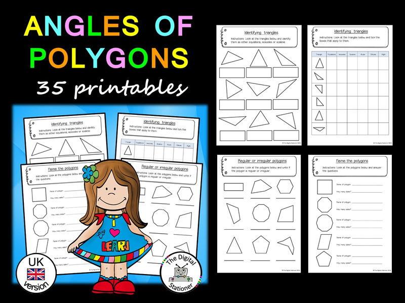 Angles  of Polygons (UK version) – 35 printables