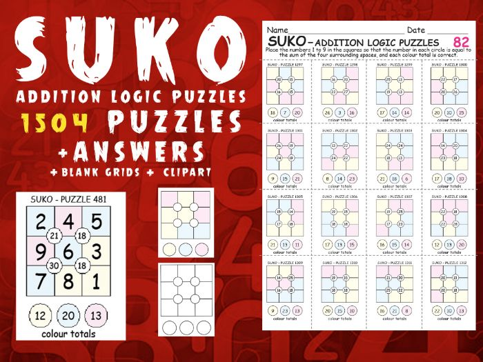 SUKO - 1504 ADDITION LOGIC PUZZLES + ANSWERS + BLANK GRIDS + ALL CLIP-ART