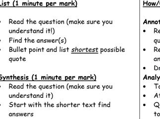 EDUQAS language reading revision cards