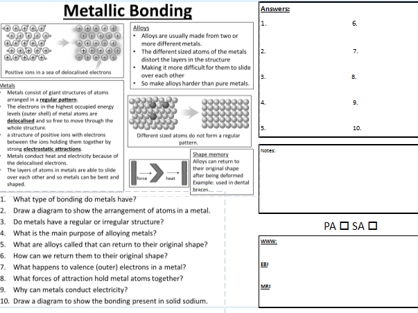 C2 Metallic Bonding PASA DIRT learning worksheet with WWW EBI MRI.