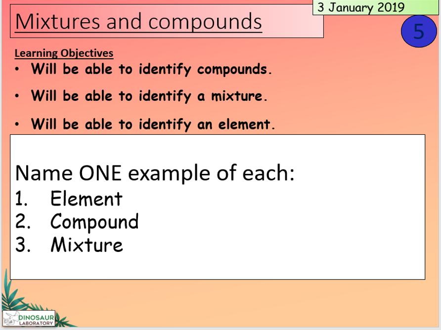 KS3 Elements, mixtures and compounds