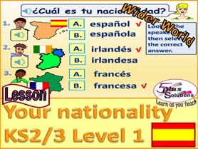 PRIMARY SPANISH LESSON (KS2/3): To say your nationality (UK countries, France & Spain); Ser - To be